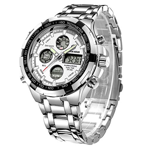 (Tamlee Luxury Full Steel Analog Digital Watches for Men Led Male Outdoor Sport Military Wristwatch Silver )