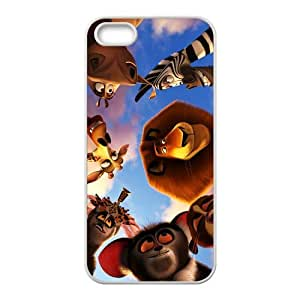 Personalized Design of Animated Film-Madagascar by DreamWorks Background Fitted White Hard Case Cover for iPhone5/5S- Cell Phone Accessories