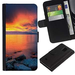 Planetar® Modelo colorido cuero carpeta tirón caso cubierta piel Holster Funda protección Para Samsung Galaxy S5 Mini / SM-G800 (Not For S5!!!) ( Sunset Beautiful Nature 36 )