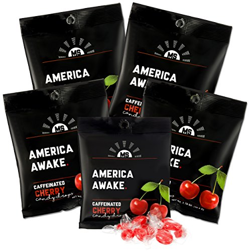 America Awake Cherry Flavor Caffeinated Candy - Extra Energy Brain Focus 40 milligrams Caffeine Anhydrous Per Serving - Made in the USA - 5 Pack