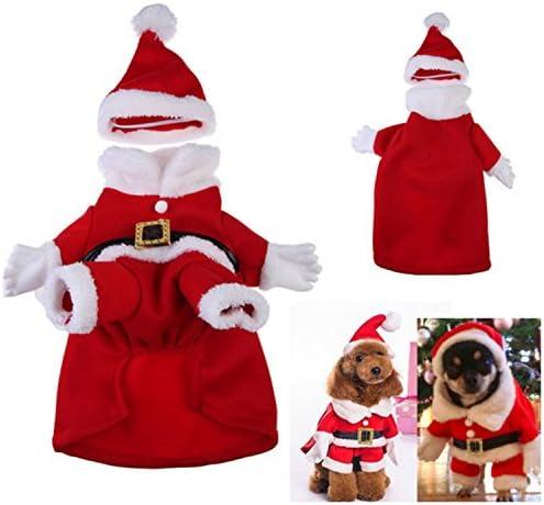Disfraz de Santa para perros y gatos, adorable, suave y calentito ...