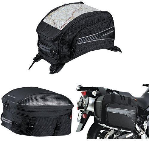 Nelson-Rigg CL-2015-ST Black Strap Mount Journey Sport Tank Bag, CL-1060-ST Black Sport Touring Tail/Seat Pack, and (CL-855) Black Touring Adventure Saddlebag Bundle