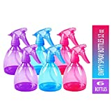 Tolco Empty Spray Bottles - 6 Pack 12 Oz Beautiful Refillable Sprayer for Essential Oil, Water, Kitchen, Bath, Beauty, Hair, and Cleaning - Durable Trigger Sprayer with Mist & Stream Modes