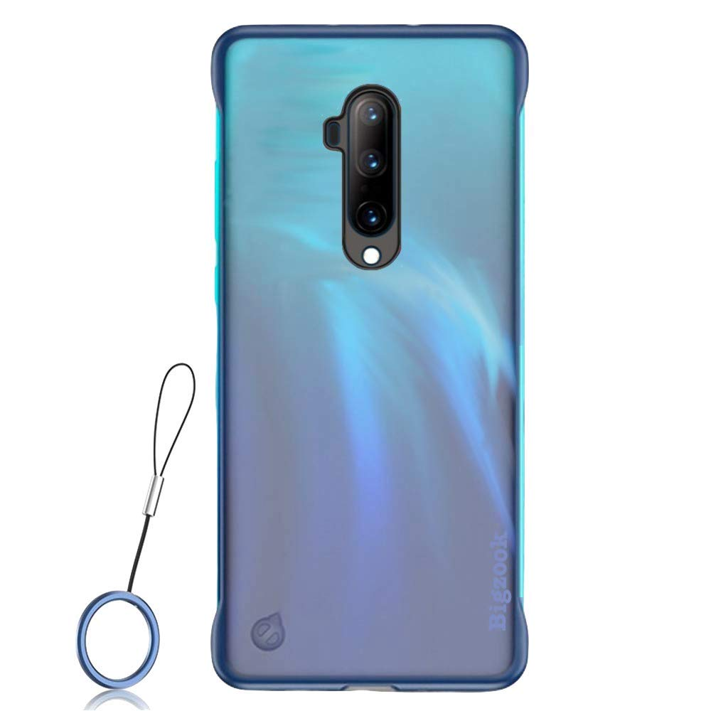 BIGZOOK Frameless case for OnePlus 7T Pro Case Slim Translucent Matte Texture Design Hard PC Back Cover Shock Bumper Corners for OnePlus 7T Pro (Free Metal Ring) (Blue) (B07ZBHR9TV) Amazon Price History, Amazon Price Tracker