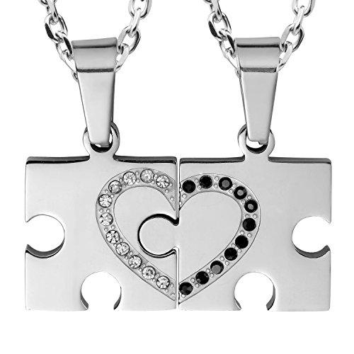 2pcs His & Hers Puzzle Sparkle Juego de parejas de 2Joyas Cristal con Colgante de Corazón con 48,3cm & 53,4cm cadena