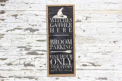 Xusmimo Witches Gather Here Broom Parking Hand Painted Wood Sign Farmhouse Style Rustic