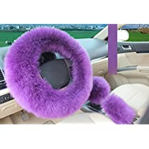 Wool Car Steering Wheel Cover ,Aolvo 100 % Australian Wool Natural Sheepskin Pure Vehicle Luxurious Soft Non-slip Winter Warm Wheel Cushion Protector for Women/Girls/Ladies 1 Set 3 Pcs