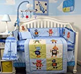 SoHo Stars and Robots Complete Nursery Bedding Set with Diaper Bag PLUS FREE BLUE BABY CARRIER for limited time offer only!!!