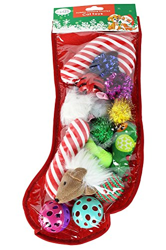 Christmas Stocking Cat Toy Gift Set (14 toys) by Midlee (Holiday Cat Stocking)