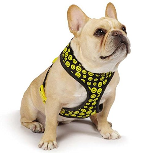 Casual Canine Smiley Face Harness, X-Small, Black