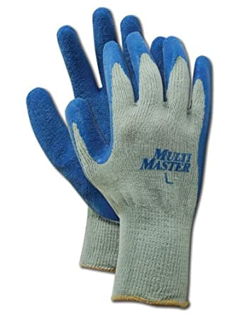 """Magid MultiMaster 9529 Cotton/Polyester Glove, Blue Latex Palm Coating, Knit Wrist Cuff, 10"""" Length, Medium (Pack of 12 Pairs)"""