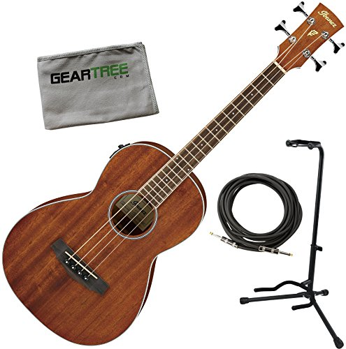 Ibanez PNB14E OPN Parlor Open Pore Natural Acoustic-Electric Bass w/Cable, Stand, and Cloth