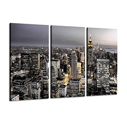 Cityscape Artwork Urban Landscape Picture: NYC Skyline Architecture View with Empire Sunburst Sunrise, Photographic Arts Prints on Canvas for Wall Decoration