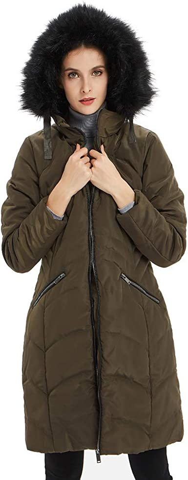 Ladies Quilted Padded Lined Waistband Fur Collar Warm Thick Womens Jacket Coat