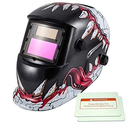 iMeshbean Pro Cool Solar Power Auto Darkening Welding Helmet with Grinding Function & 2 pcs Extra Lens Covers Arc Tig Mig Plasma ANSI Certified Welder #1034 USA