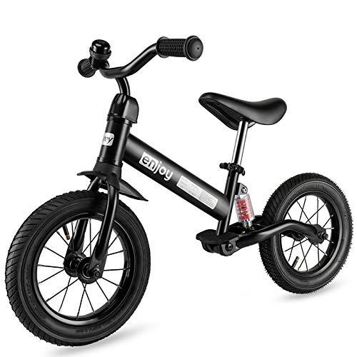 🥇 besrey Bicicleta sin Pedales Rueda de Goma Inflable Bicicleta Sin Pedales con Amortiguador Central – Negro