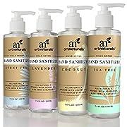 ArtNaturals Natural Hand Sanitiser Gel – (4 x 7.4 Fl Oz/220ml) – Made with Essential Oils, Jojoba Oil, Aloe Vera - Set Includes Scent Free, Coconut, Lavender and Tea Tree Sanitizer