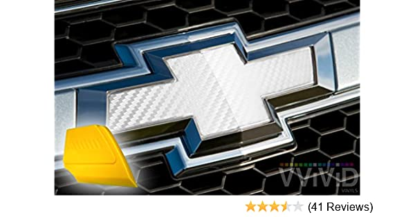 "VVIVID Silver Carbon Fibre Auto Emblem Vinyl Wrap Overlay Cut-Your-Own Decal for Chevy Bowtie Grill Rear Logo DIY Easy to Install 11.80/"" x 4/"" Sheets x2"