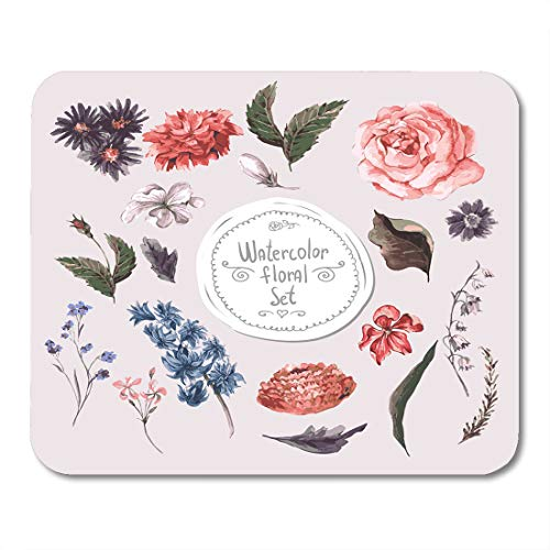 - Boszina Mouse Pads Plant Flower of Watercolor Floral Design Roses Hyacinths and Wildflowers in Vintage Style Botanical Mouse Pad 9.5