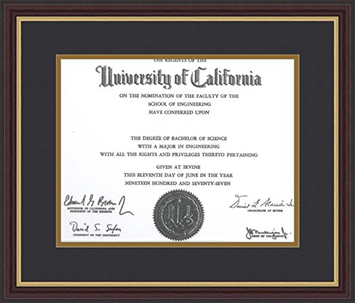 ArtToFrames Diploma Frame Mahogany and Gold Slope Frame with 1 - 11x14 Opening, - Frame Gold Double