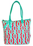 Quilted Green Coral Vines Tote Bag - 16-Inch