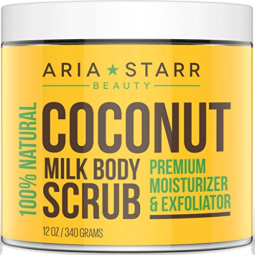 Aria Starr Coconut Milk Body Scrub - Best 100% Natural Skin Care Exfoliator & Moisturizer - 12 (Natural Exfoliator)