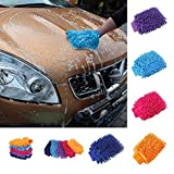 KathShop 2 in 1 Ultrafine Fiber Chenille Microfiber Car Wash Glove Mitt Soft Mesh Backing No Scratch for Car Wash and Cleaning
