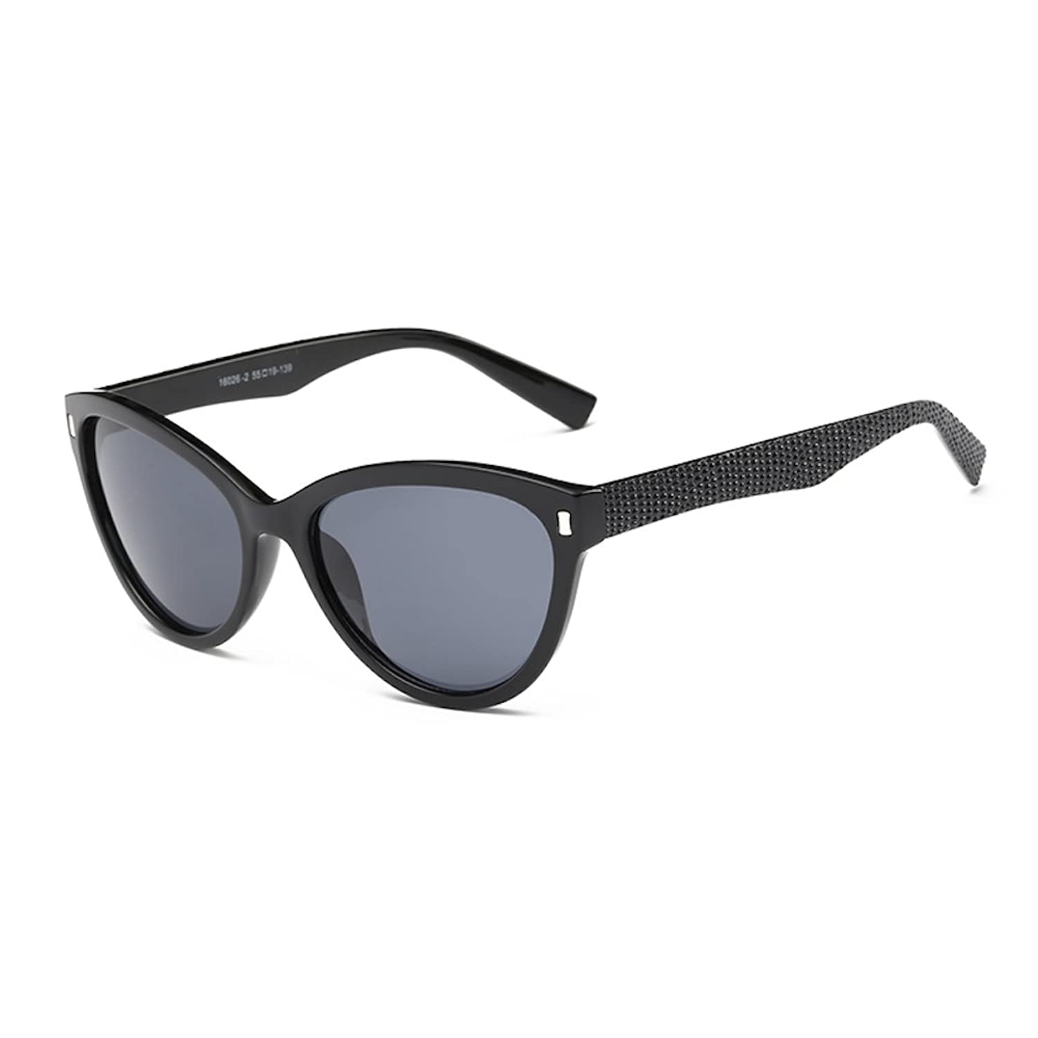 Shiny Black Frame, Cat-eye Sunglasses with Dark Grey Lens 55MM