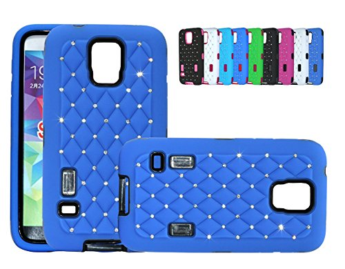 I9300 Snap (S5 Diamond Case [Nue Designs TM] Cute Bling Rugged Star Diamond Soft Silicone Protect Bumper Hard Skin Case Cover Samsung Galaxy S5 i9600 (DARK BLUE/BLACK))