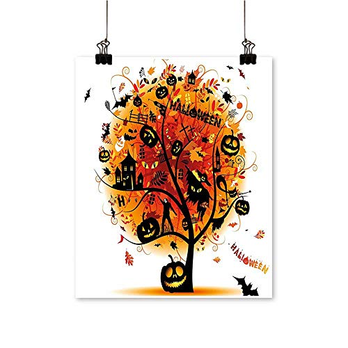 On Canvas Prints Distressed Horror Tree with Mystic Halloween Elements Skull Devil Scary Design Paintings for Wall Decor,28