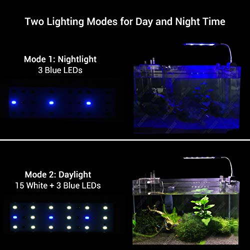 NICREW Fish Tank Clip on Light, Clamp Aquarium Light with White and Blue LEDs, 320LM, 7 Watts