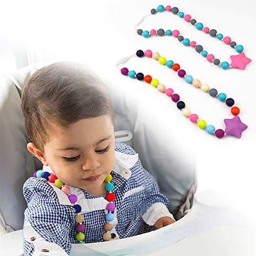 TUXEPOC Sensory Chew Necklace for Kids,Girls/Boys Silicone Teething Necklace for Baby,Oral Sensory Chew Toys Teether Necklace Chewing Designed for Autism, ADHD, BPA Free Chew Beads (Purple)