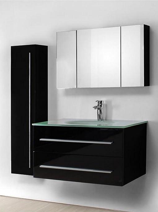 Ensemble salle de bain simple vasque noir laqué 90 cm - NOE NOIR ...