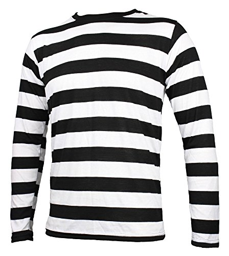 Striped Long Sleeve Shirt Black and White Adult | Amazon.com