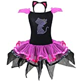 iEFiEL Girls Kids Halloween Costume Dresses Kitty Cat Party Fancy Dress up Outfit with Cat Ears Headband 7-8 Years