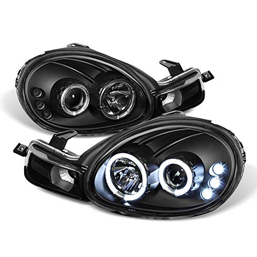 ACANII - For 2000-2002 Dodge Neon 01-02 Plymouth Neon LED Dual Halo Black Projector Headlights Headlamps w/Signal Lamps