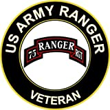 "3.8"" US Army Rangers Veteran Decal Sticker"