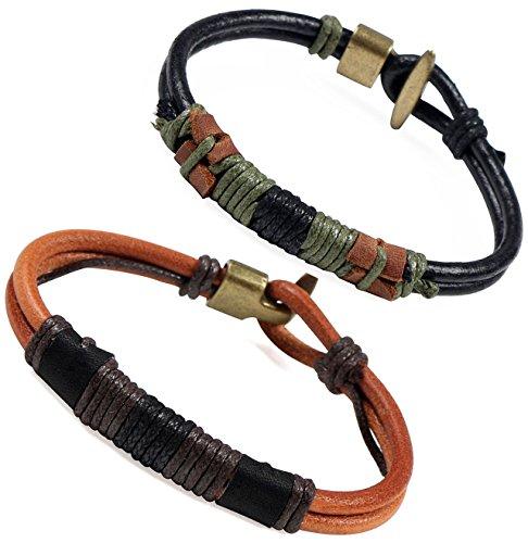 colrov-leather-bracelet-for-menhandmade-wrist-rope-bracelets-bangle-set-of-2-black-brown