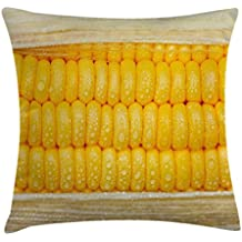 Ambesonne Health Throw Pillow Cushion Cover, Corn Cob Stem with Raindrops Water Marks Mexican Vegetable Photo Artwork Image, Decorative Square Accent Pillow Case, 26 X 26 Inches, Yellow and Cream