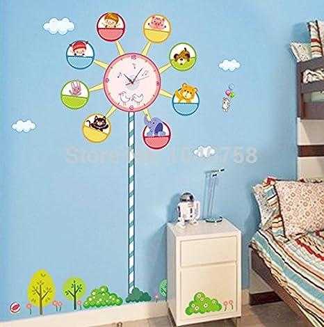 Noria de Dibujos Animados Reloj de pared Adhesivo Adhesivo Pared decoración del hogar Reloj de pared arte decorativa para dormitorios Reloj Digital: ...