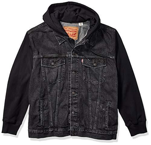 Levi's Men's Tall Big & Tall Hoodie Trucker Jacket-Big, Hood Up Black, 4XL (Jean Hoodie Levis Jacket)