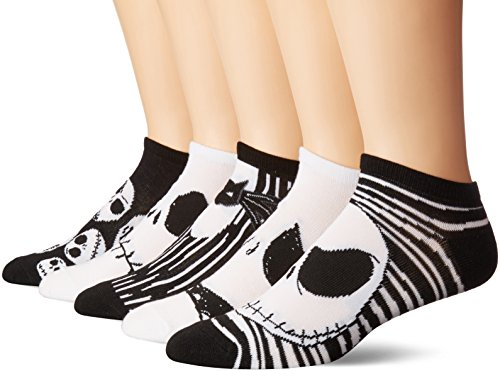 Disney Nightmare Before Christmas 5 Pack No Show Sock, Assorted Neutral, One Size -