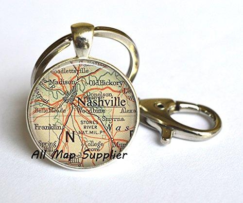 Charming Keychain,Nashville map Keychain, Nashville Key Ring, Nashville Keychain, Nashville Tennessee Keychain, Nashville TN travel - 7 11 Franklin Tn