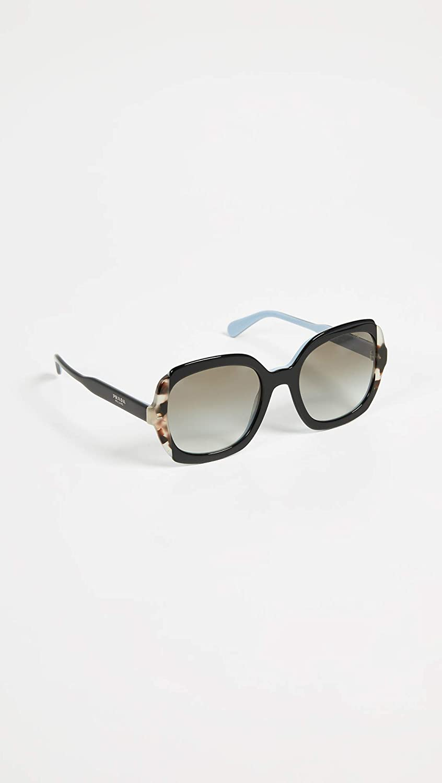 Prada 0PR 16US Gafas de sol, Black Azure/Spotted Brown, 54 ...