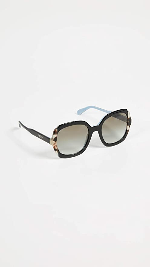 Prada 0PR 16US Gafas de sol, Black Azure/Spotted Brown, 54 ...