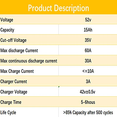 52V 15AH Ebike Lithium ion Battery Pack for 500W 750W Electric Bike Scooter 58.8V 3A Charger + 50A BMS by BtrPower (Image #3)