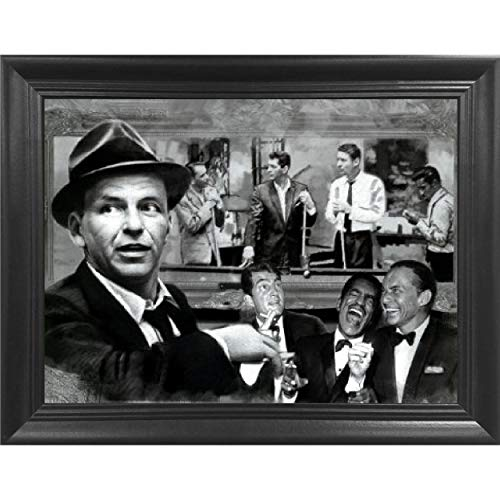 The Rat Pack Shooting Pool 3D Poster Wall Art Decor Framed Print | 14.5x18.5 | Lenticular Posters & Pictures | Memorabilia Gifts for Guys & Girls Bedroom | Frank Sinatra, Dean Martin & Sammy Davis Jr
