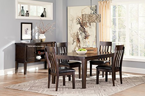 Handigan Casual Dark Brown Color Dining Room Set, Rectangular Table, 4 Chairs