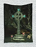 Ambesonne Gothic Decor Collection, Gothic Cross Tree Grave Skulls Tombstone Lanterns Graveyard Night Art, Bedroom Living Room Dorm Wall Hanging Tapestry, Blue Grey