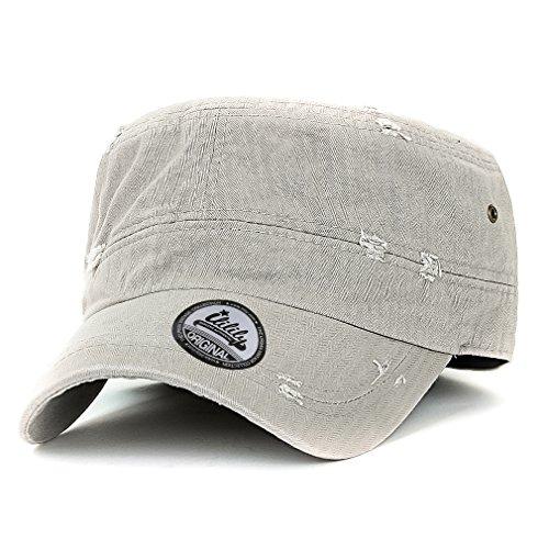 ililily Sólido Color Angustiado Algodón Sombrero Militar Gorra Vintage  Militar Ejército de Estados Unidos Estilo Sombrero aacdb19c63c